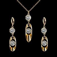 Women Elegant 18K Gold Plated Crystal Rhinestone Jewelry Set Necklace Earrings