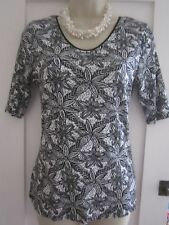 Ladies size 10 George black and white  floral short sleeve cotton top