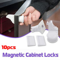 ❤ 10PCS Magnetic Cabinet Drawer Cupboard Locks Baby Kids Child Safety Proofing