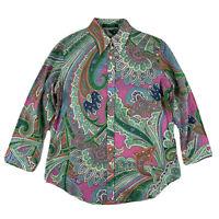 Lauren Ralph Lauren Sz XS Button Down Shirt Blouse Colorful Bright Paisley