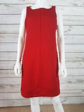 Sharagano Sz 10 Sleeveless Sheath Dress Red Stretch Textured  Front Zip Pockets