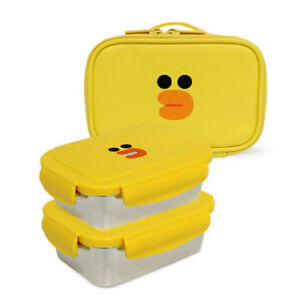 Line Friends SALLY Stainless 2 Layers Bento Lunch Box Food Container With Bag