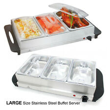 KINGAVON LARGE 240V/300W S/S STEEL 3 PAN BUFFET SERVER FOOD WARMER TRAY HOT DISH