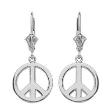 14K White Gold Open Boho Peace Symbol Drop/Dangle Leverback Earrings