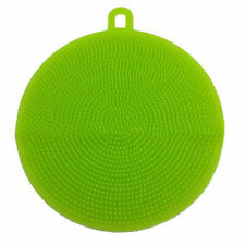1Pc Soft Silicone Green Sponge Brush Scrubber Kitchen Dish Washing Cleaning Tool