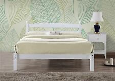 "Birlea Oslo White Wood Bed Frame 120CM Small Double 4FT 4'0"" Bedstead"