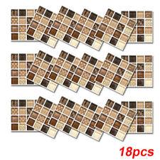 18pcs Mosaic Self-adhesive Bathroom Kitchen Decor Home Wall 3D Tile Stickers