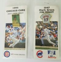 Vintage Chicago Cubs 2 Pin Set 1994 & 97  Mark Grace Lapel Pins Stadium Giveaway
