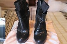 Barney's New York | Becky Black Leather Stiletto Ankle Boots– Size 38