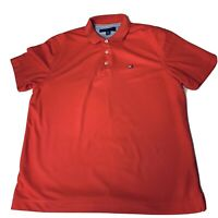 Tommy Hilfiger Golf Polo Shirt Large Red Solid 100% Polyester Short Sleeve Mens