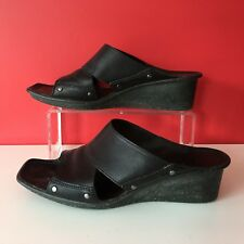 Clarks Active Air Black REAL LEATHER Slip On Sandals Mules Size UK 5.5 EUR 38.5