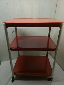 Vintage Red White COSCO CART metal kitchen utility rolling 3 tiered