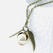 Harry Potter Hogwarts Wings Golden Snitch Pendant Necklace Gifts