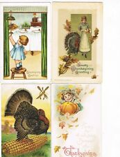 LOT of  4 ANTIQUE EARLY 1900s HOLIDAY Postcards   * THANKSGIVING *   #1017J