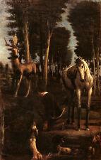 Der heilige Hubertus Hans von Marees Wald Jäger Jagd Sankt St Bütten H A3 0222
