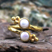 Roman Art Handmade Pearl Ring 925k Sterling Silver Turkish Designer Gemstone
