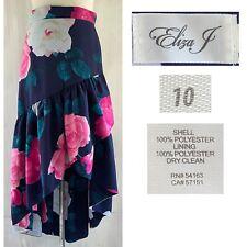 ELIZA J Women's Sz 10  Bold Floral Asymmetric High Low Ruffle Maxi Skirt EUC