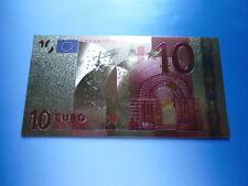 10 euros en couleur/24 CT or/goldfoliennote lingots d'or #4610