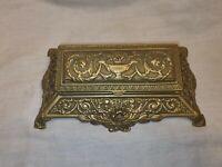 Vintage Brass Desk Stamp Holder Victorian Design 5 Compartments Great Condition