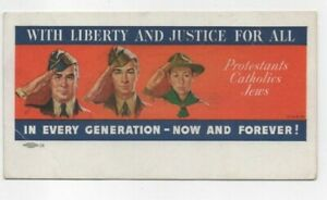 """MILITARY / BOY SCOUTS """"WITH LIBERTY AND JUSTICE FOR ALL"""" Advertising Ink Blotter"""