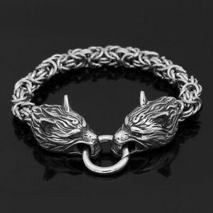norse Men stainless steel King chain viking wolf head bracelet 17-25 CM