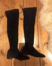 Stuart Weitzman Overknee Black Suede Lowland Boots Size UK6, US8