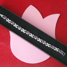 """Beautiful Fashion Bracelet With Amethyst 18K White Gold Plated Gp 16Gr 7""""5 Long"""