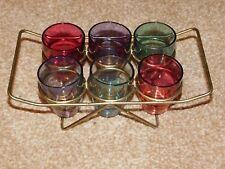 6 RETRO LUSTRE HARLEQUIN PARTY SHOT GLASSES IN BRASS WIRE RACK HOLDER c1950's