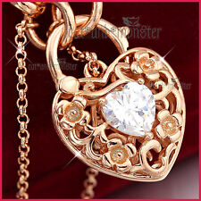 9K ROSE GOLD GF CZ CRYSTAL FILIGREE BELCHER CHAIN HEART PADLOCK BANGLE BRACELET