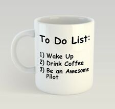 Pilot To Do List Funny Mug Gift Novelty Humour Birthday Fly