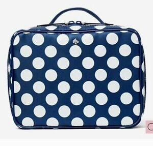 NWT Kate Spade Jae Seaside Dot Travel Cosmetic Bag Nylon Blue & White