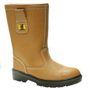 WOMENS TAN MID SOLE LEATHER SAFETY STEEL TOE CAP RIGGER FUR LINED BOOTS SIZE 5
