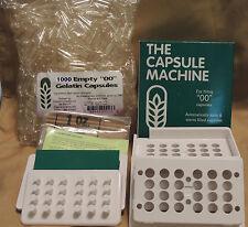 "CAPSULE FILLING MACHINE Size ""00"" + 1000 Empty Gelatin Capsules - Complete Kit"