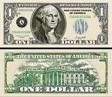 Poker Play Money One Dollar Bill Washington Fake Funny Money Note + FREE SLEEVE