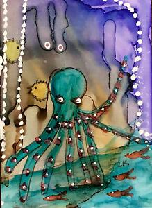 "ACEO original Octopus fish sea life painting by Lynne Kohler 2.5x3.5"""