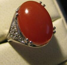 STERLING SILVER RED JADE RING SZ 6.25