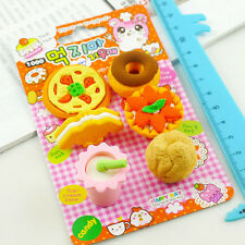 Cute Cartoon Food Rubber Pencil Eraser Set Stationery Novelty Gift Toy 8Pcs/Kit
