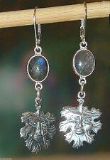 """New Earrings, Labradorite & Green Man, 925-Sterling-Silver Celtic  2-1/4"""""""
