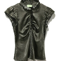 Review Womens Size 8 Striped Blouse Ladies Ruffle Collar Short Sleeved Top
