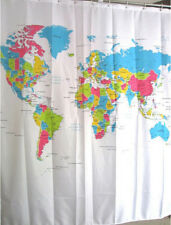 Shower Curtain World Map Pattern Bathroom Waterproof Fabric 72 in +12 Hooks