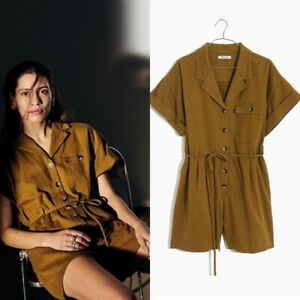 Madewell Olive Green Belted Button Down Safari Romper NWT Size XXS