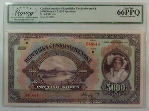 1920 5000 Korun Specimen Czechoslovakia Republic Currency Note Legacy 66 PPQ