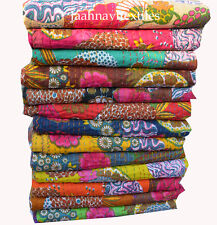 New Indian Handmade Quilt Vintage Kantha Bedspread Throw Cotton Blanket Coverlet