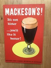 Vintage Mackeson's Stout Brewery Bar Display Showcard - Beer Sign