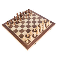 Large Chess Wooden Set Folding Chessboard Magnetic Pieces Wood Board 30cm