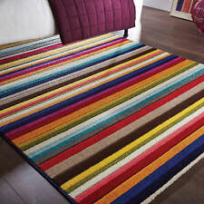 Spectrum Tango Rugs Multi Coloured Modern Contemporary Striped Rug and Runner