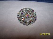 Unsigned Silvertone Brooch Pin Aurora Borealis.  No missing stones