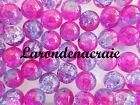 20 perles craquelées en verre ROSE et VIOLET 10mm création bijoux