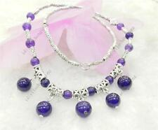 NATURAL RUSSIAN AMETHYST ROUND BEADS PENDANTS & TIBET SILVER NECKLACE 18""