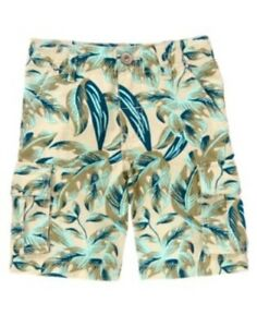 GYMBOREE GONE SURFIN' OLIVE PALM N LEAF CARGO SHORTS 3 4 5 6 8 10 12 NWT